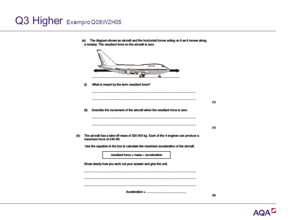 Q3 Higher Exampro Q08W2H05 Version 2.0 Copyright © AQA and its licensors. All rights reserved.