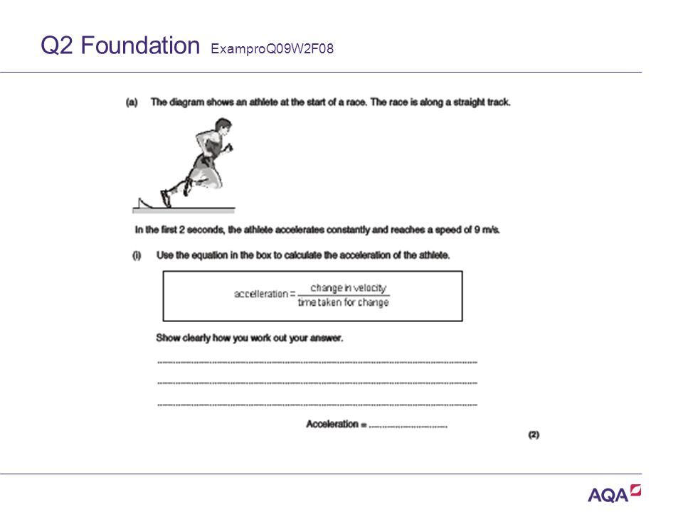 Q2 Foundation ExamproQ09W2F08 Version 2.0 Copyright © AQA and its licensors. All rights reserved.