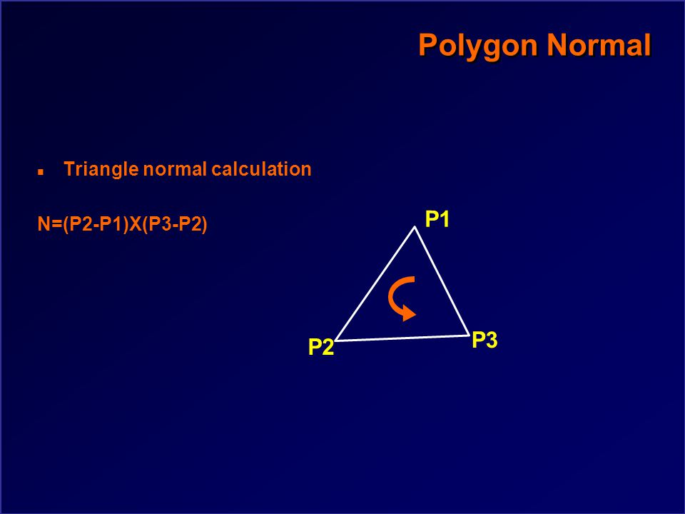 Polygon Normal n Triangle normal calculation n Polygon normal calculation n Polymeshes (vertex normals)
