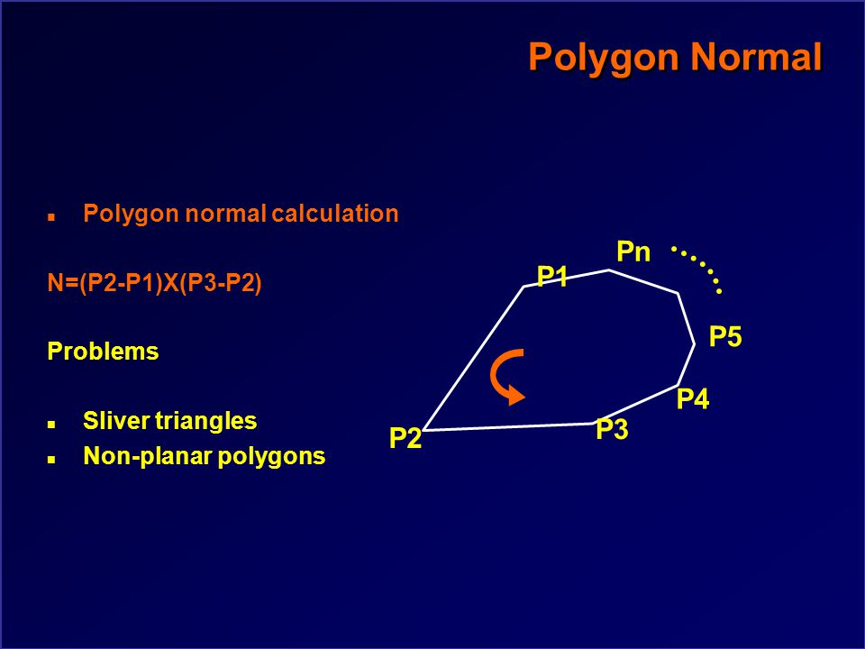 Polygon Normal n Polygon normal calculation N=(P2-P1)X(P3-P2) P2 P3 P1 P4 P5 Pn