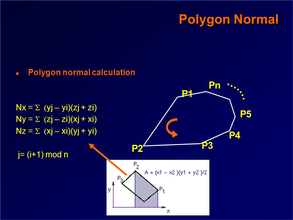 Polygon Normal n Polygon normal calculation N=(P2-P1)X(P3-P2) Problems n Sliver triangles n Non-planar polygons P2 P3 P1 P4 P5 Pn