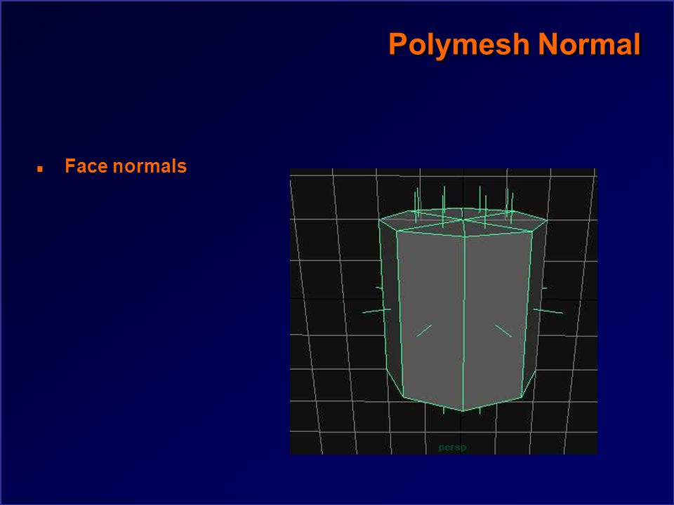 Polygon Normal n Polygon normal calculation Nx =  yj – yi)(zj + zi) Ny =  zj – zi)(xj + xi) Nz =  xj – xi)(yj + yi) j= (i+1) mod n P2 P3 P1 P4 P5 Pn