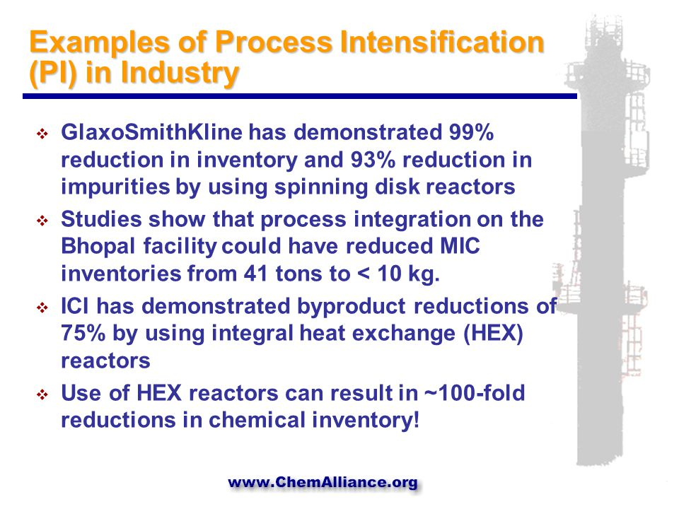 Examples of Process Intensification (PI) in Industry  GlaxoSmithKline has demonstrated 99% reduction in inventory and 93% reduction in impurities by using spinning disk reactors  Studies show that process integration on the Bhopal facility could have reduced MIC inventories from 41 tons to < 10 kg.