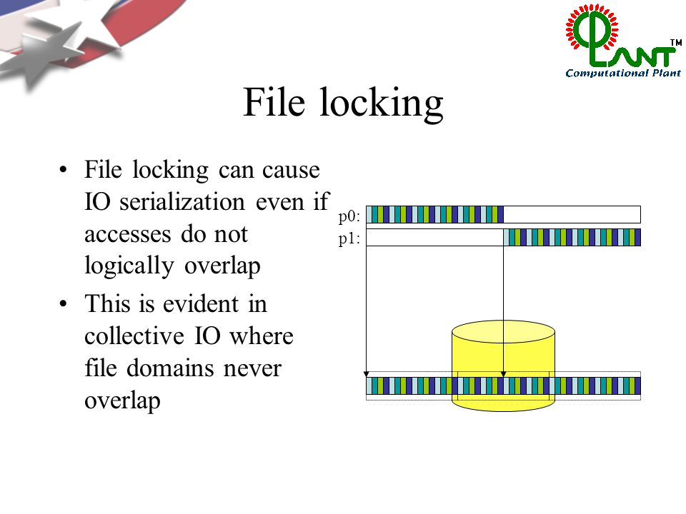 File locking File locking can cause IO serialization even if accesses do not logically overlap This is evident in collective IO where file domains never overlap p0: p1: