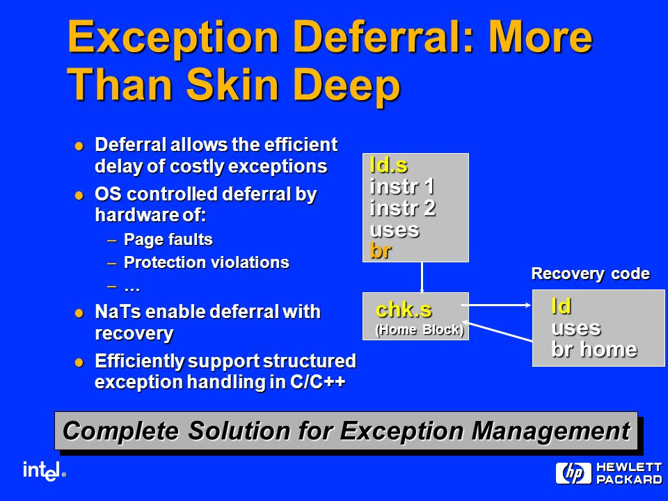® ld.s instr 1 instr 2 usesbr chk.s (Home Block) lduses br home Recovery code Complete Solution for Exception Management Exception Deferral: More Than Skin Deep Deferral allows the efficient delay of costly exceptions Deferral allows the efficient delay of costly exceptions OS controlled deferral by hardware of: OS controlled deferral by hardware of: –Page faults –Protection violations –… NaTs enable deferral with recovery NaTs enable deferral with recovery Efficiently support structured exception handling in C/C++ Efficiently support structured exception handling in C/C++