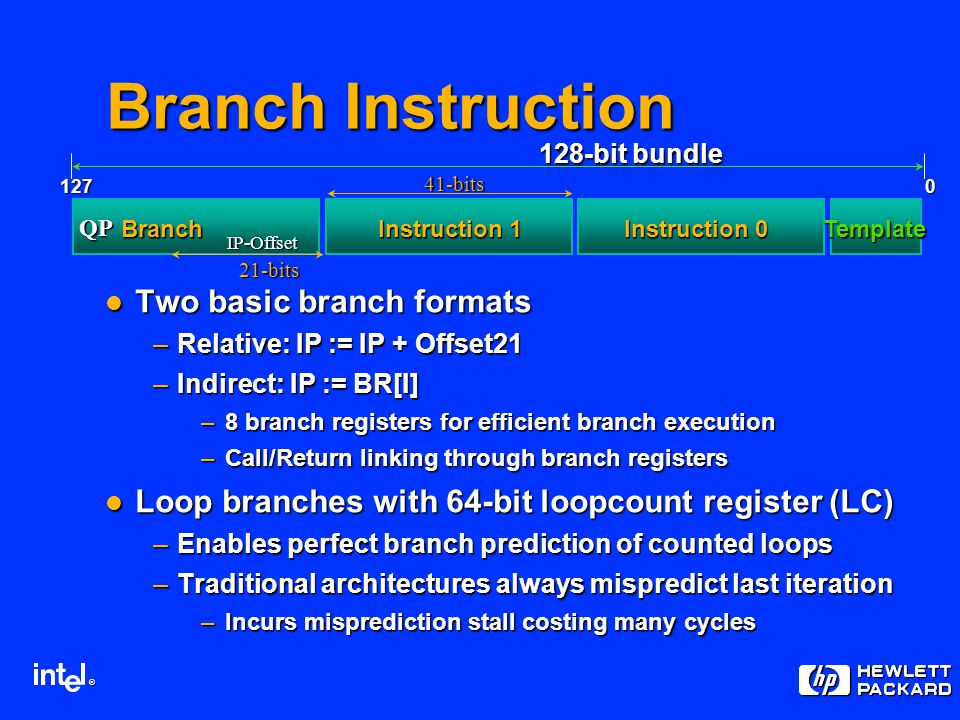 ® Instruction 1 Instruction 0 Template 128-bit bundle 0127 QP IP-Offset Branch 21-bits Branch Instruction Two basic branch formats Two basic branch formats –Relative: IP := IP + Offset21 –Indirect: IP := BR[I] –8 branch registers for efficient branch execution –Call/Return linking through branch registers Loop branches with 64-bit loopcount register (LC) Loop branches with 64-bit loopcount register (LC) –Enables perfect branch prediction of counted loops –Traditional architectures always mispredict last iteration –Incurs misprediction stall costing many cycles 41-bits