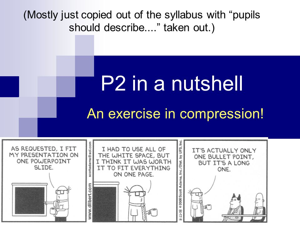 P2 in a nutshell An exercise in compression.