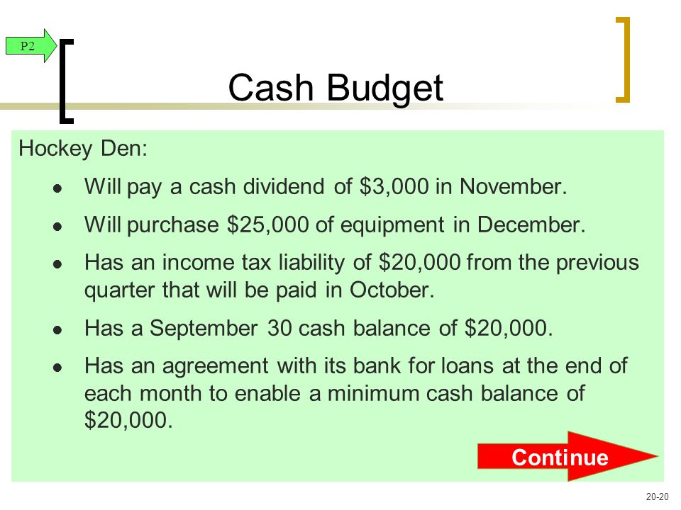 Hockey Den: Will pay a cash dividend of $3,000 in November.