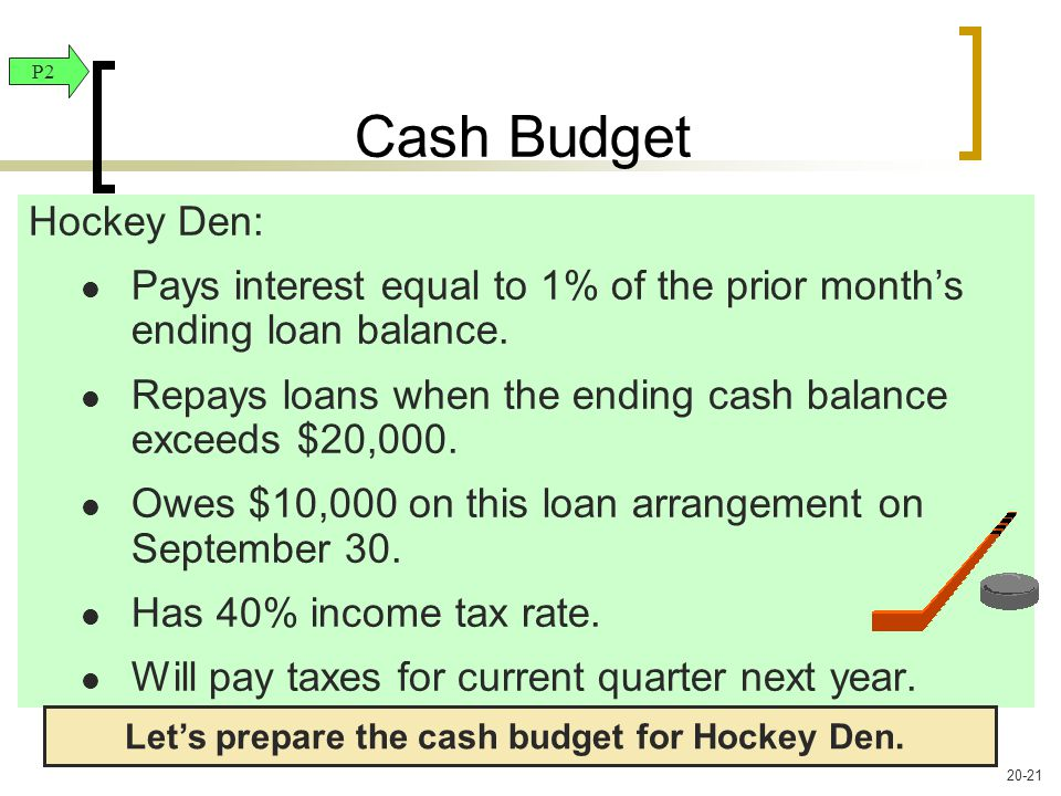 Hockey Den: Pays interest equal to 1% of the prior month's ending loan balance.