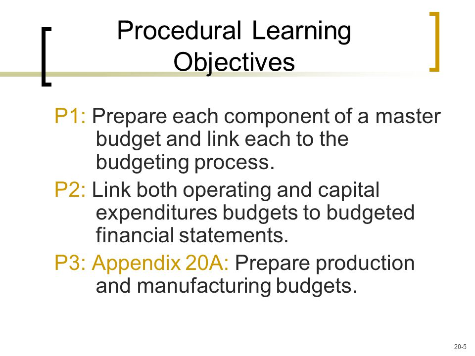 P1: Prepare each component of a master budget and link each to the budgeting process.