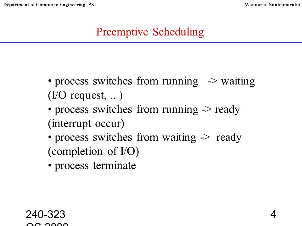 240-323 OS,2000 4 Department of Computer Engineering, PSUWannarat Suntiamorntut Preemptive Scheduling process switches from running -> waiting (I/O request,..