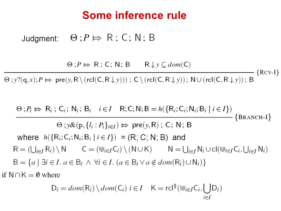 Some inference rule Judgment: where = (R; C; N; B) and