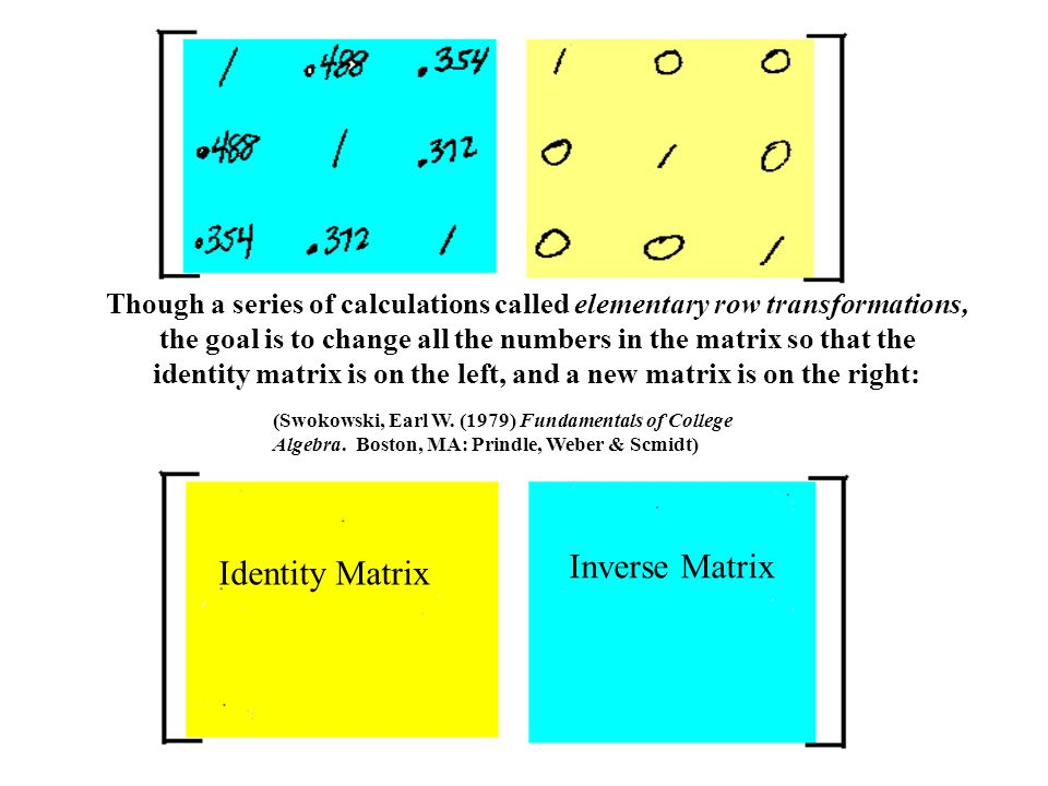 Though a series of calculations called elementary row transformations, the goal is to change all the numbers in the matrix so that the identity matrix is on the left, and a new matrix is on the right: Identity Matrix Inverse Matrix (Swokowski, Earl W.