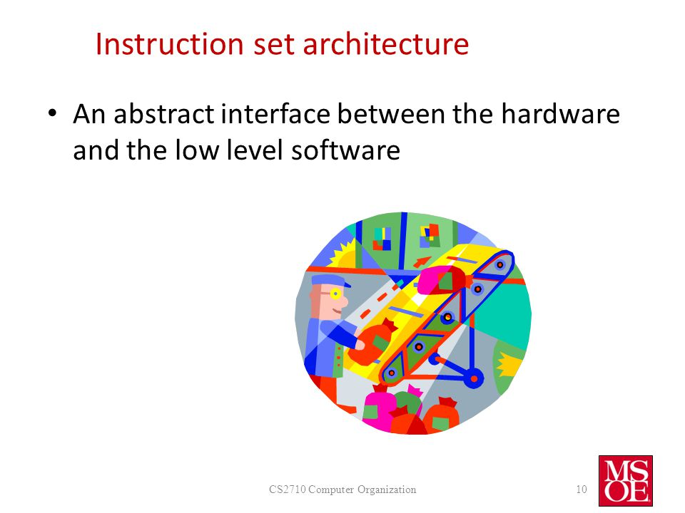 Instruction set architecture An abstract interface between the hardware and the low level software CS2710 Computer Organization10
