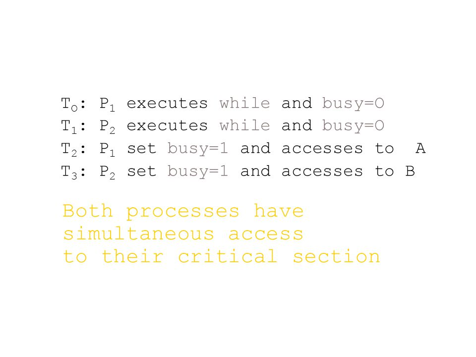 T O : P 1 executes while and busy=O T 1 : P 2 executes while and busy=O T 2 : P 1 set busy=1 and accesses to A T 3 : P 2 set busy=1 and accesses to B Both processes have simultaneous access to their critical section