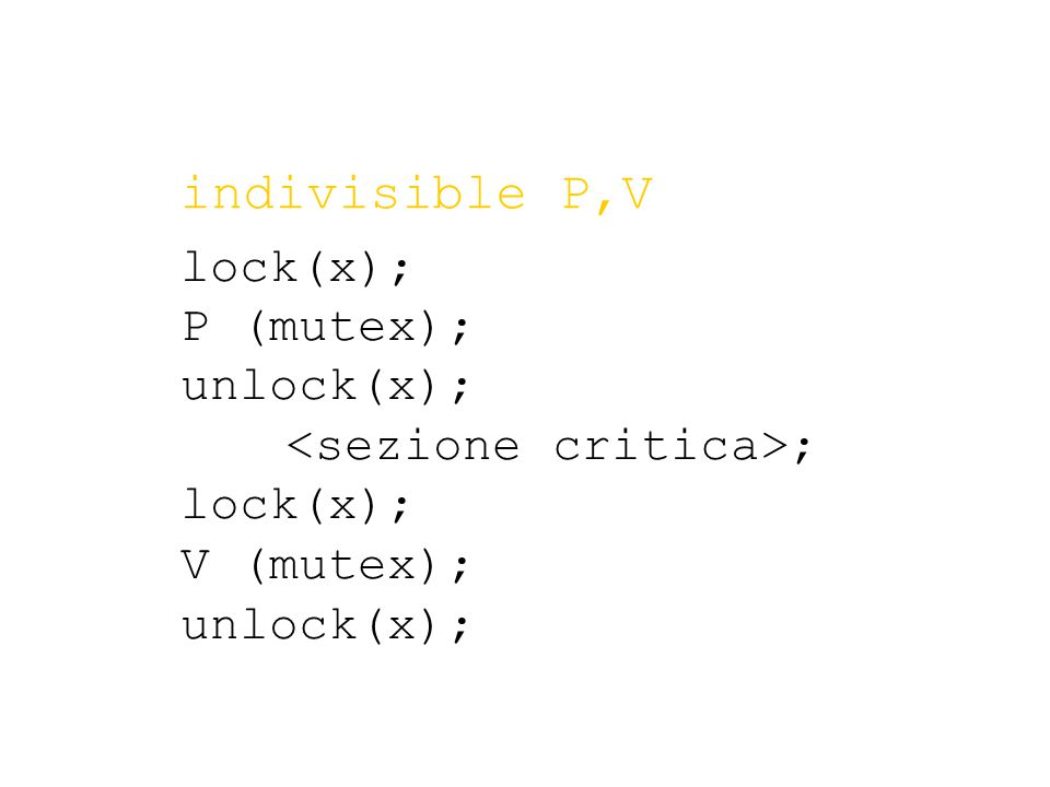lock(x); P (mutex); unlock(x); ; lock(x); V (mutex); unlock(x); indivisible P,V