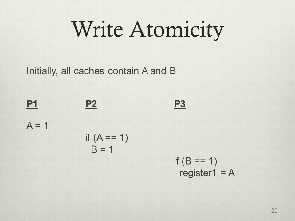 Write Atomicity Initially, all caches contain A and B P1P2P3 A = 1 if (A == 1) B = 1 if (B == 1) register1 = A 20