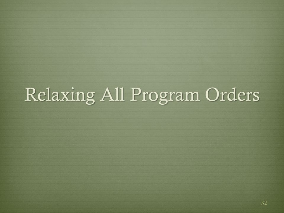 Relaxing All Program Orders 32