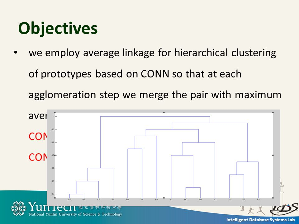 Intelligent Database Systems Lab Objectives we employ average linkage for hierarchical clustering of prototypes based on CONN so that at each agglomeration step we merge the pair with maximum average between cluster connectivity that method CONN linkage, and add a new similarity criteria CONN_Index.