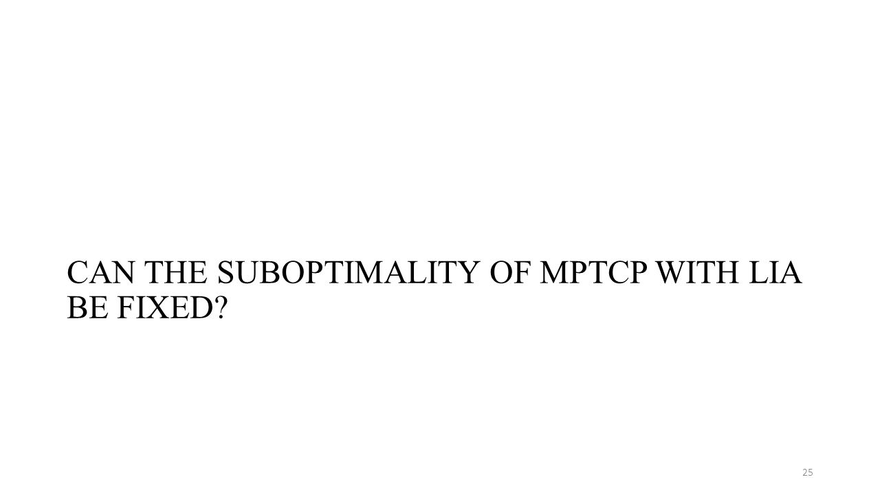 CAN THE SUBOPTIMALITY OF MPTCP WITH LIA BE FIXED 25