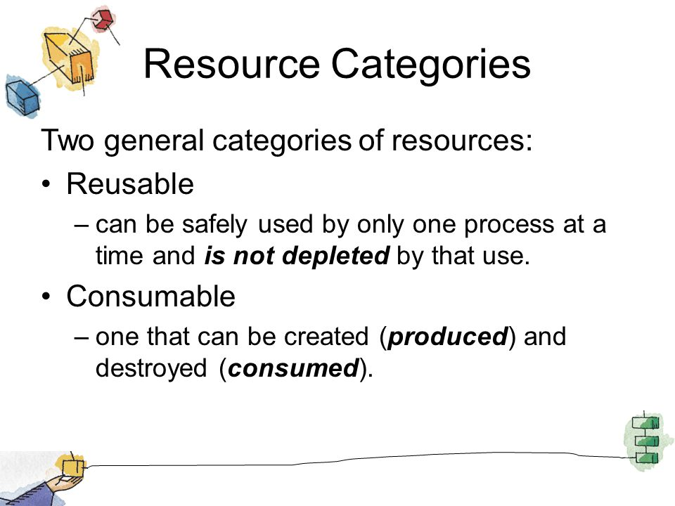 Resource Categories Two general categories of resources: Reusable –can be safely used by only one process at a time and is not depleted by that use.