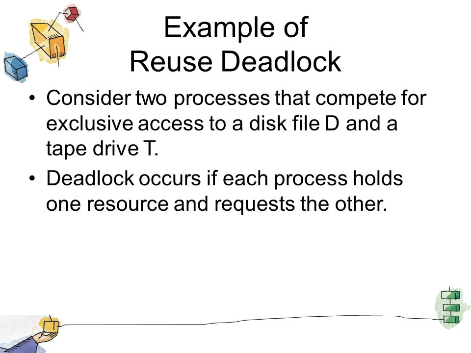 Example of Reuse Deadlock Consider two processes that compete for exclusive access to a disk file D and a tape drive T.