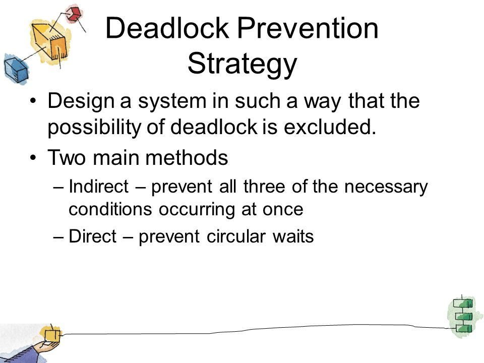 Deadlock Prevention Strategy Design a system in such a way that the possibility of deadlock is excluded.