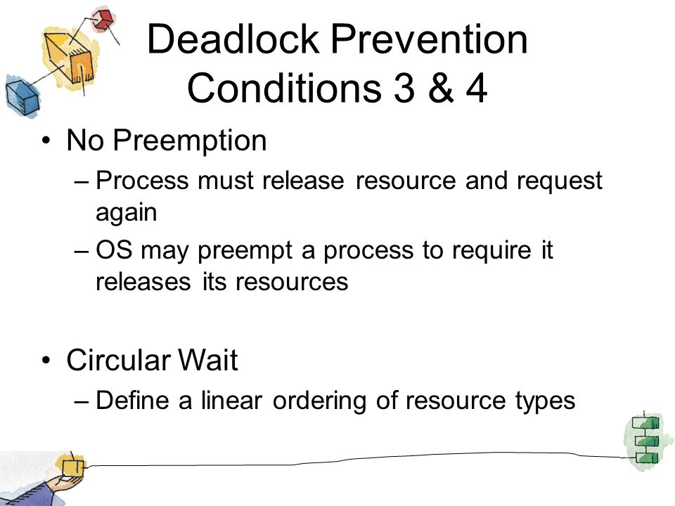 Deadlock Prevention Conditions 3 & 4 No Preemption –Process must release resource and request again –OS may preempt a process to require it releases its resources Circular Wait –Define a linear ordering of resource types