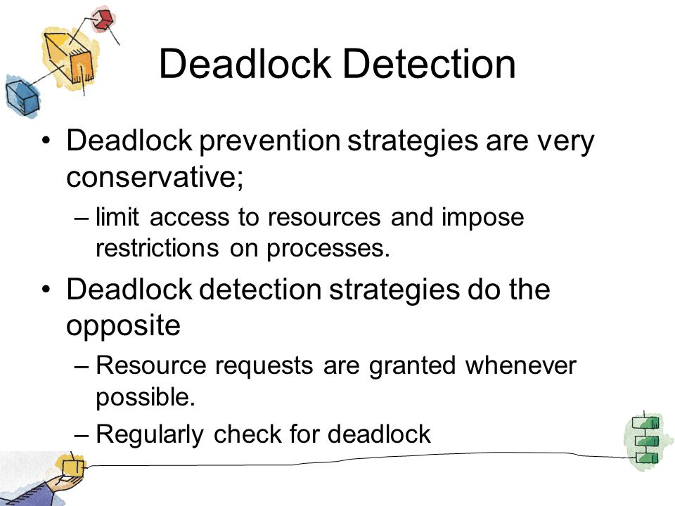 Deadlock Detection Deadlock prevention strategies are very conservative; –limit access to resources and impose restrictions on processes.