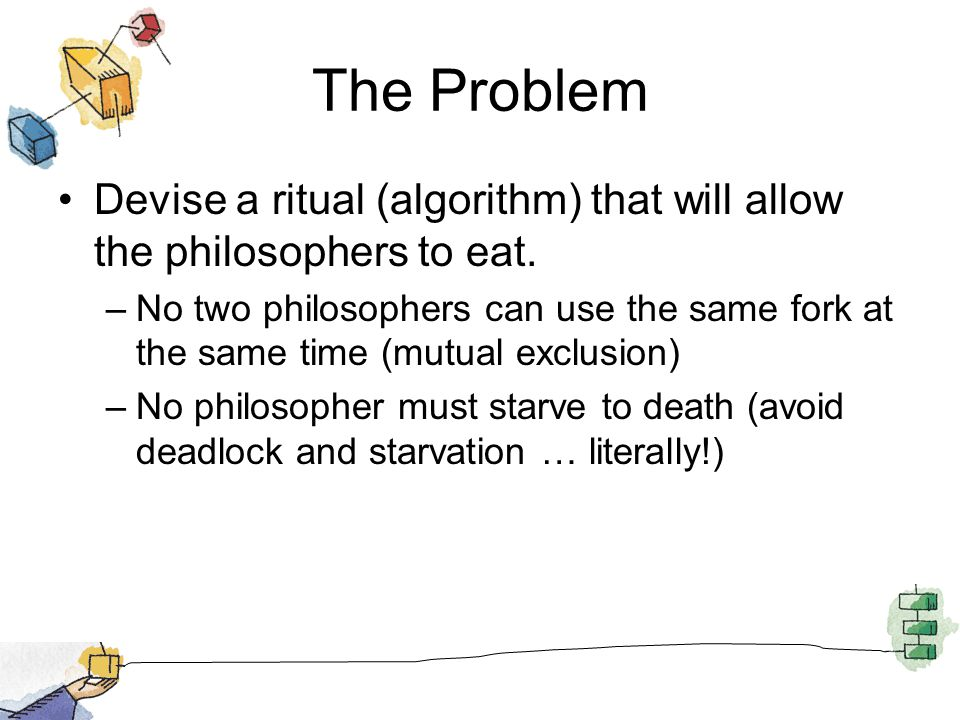 The Problem Devise a ritual (algorithm) that will allow the philosophers to eat.