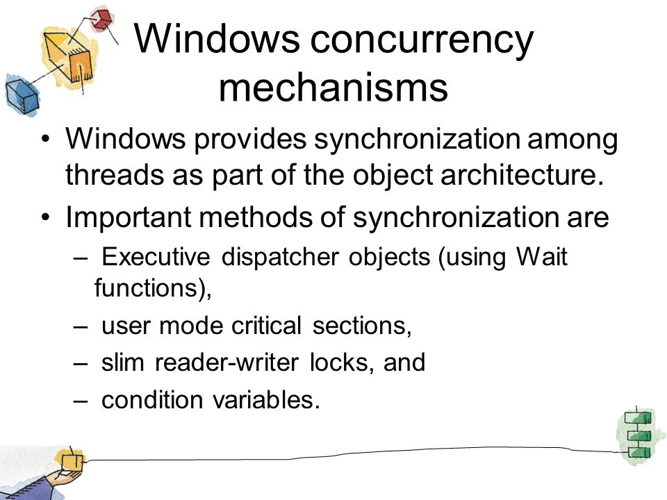 Windows concurrency mechanisms Windows provides synchronization among threads as part of the object architecture.