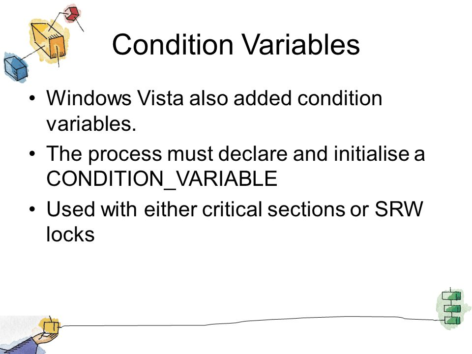 Condition Variables Windows Vista also added condition variables.