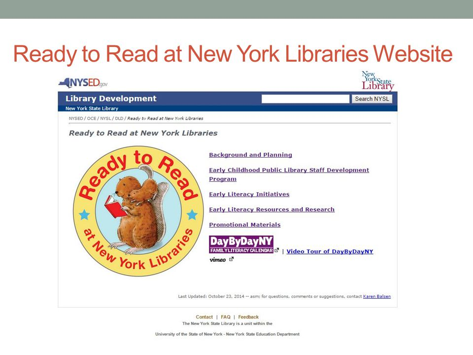 Ready to Read at New York Libraries Website
