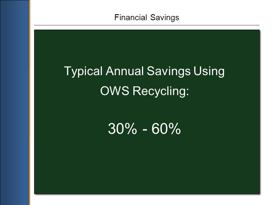 Financial Savings Typical Annual Savings Using OWS Recycling: 30% - 60%