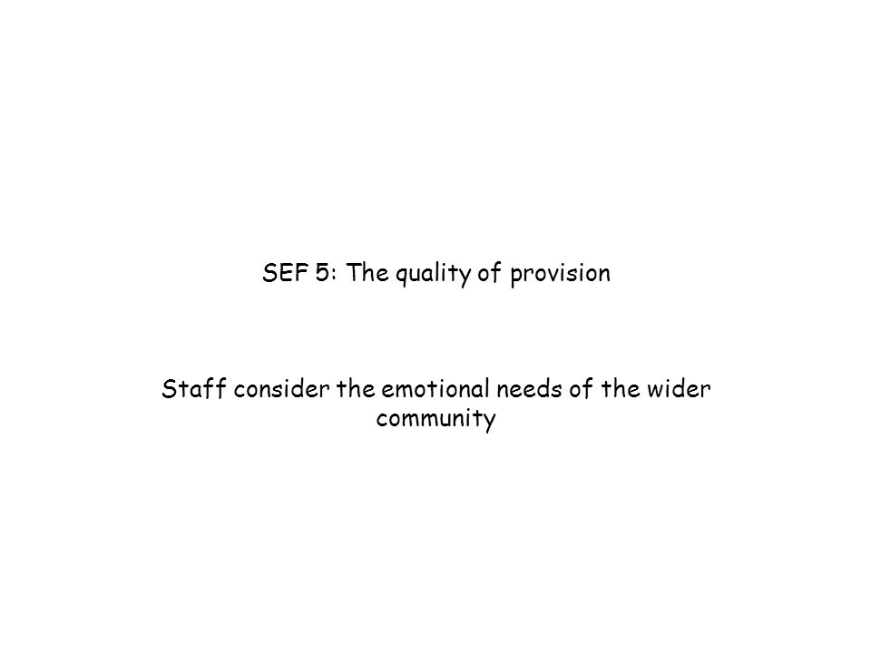 SEF 5: The quality of provision Staff consider the emotional needs of the wider community