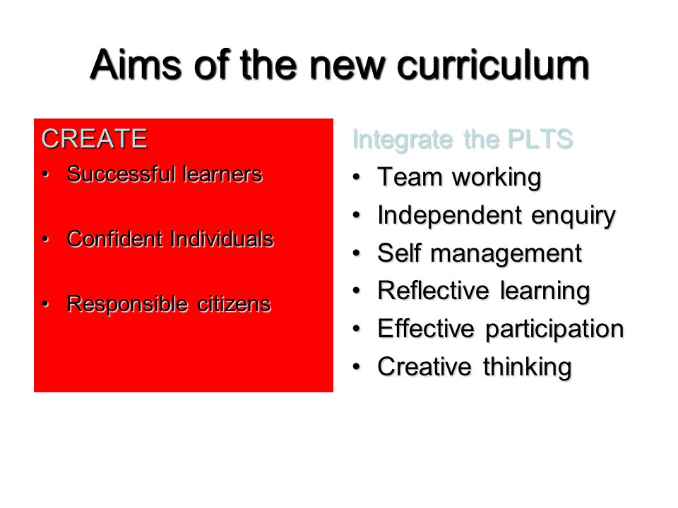 Aims of the new curriculum CREATE Successful learnersSuccessful learners Confident IndividualsConfident Individuals Responsible citizensResponsible citizens Integrate the PLTS Team workingTeam working Independent enquiryIndependent enquiry Self managementSelf management Reflective learningReflective learning Effective participationEffective participation Creative thinkingCreative thinking