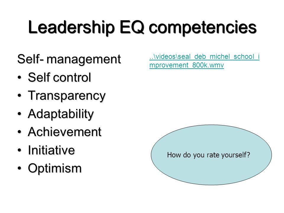 Leadership EQ competencies Self- management Self controlSelf control TransparencyTransparency AdaptabilityAdaptability AchievementAchievement InitiativeInitiative OptimismOptimism How do you rate yourself ..\videos\seal_deb_michel_school_i mprovement_800k.wmv