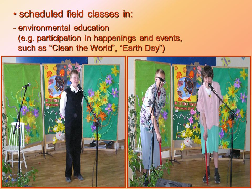 scheduled field classes in: scheduled field classes in: - environmental education (e.g.