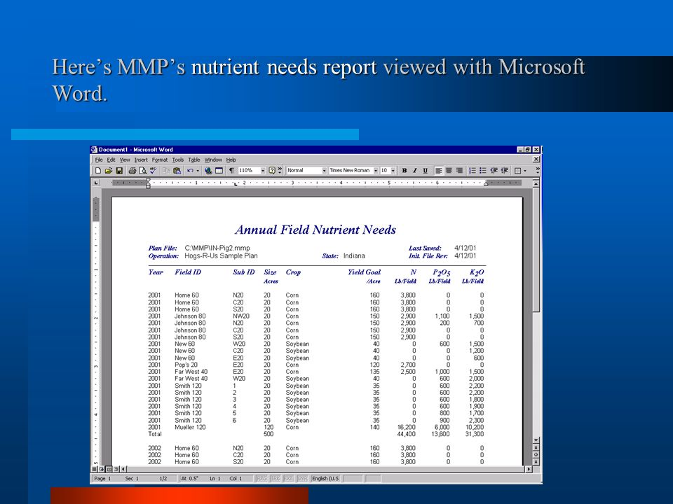 Here's MMP's nutrient needs report viewed with Microsoft Word.