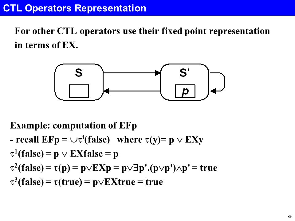 49 CTL Operators Representation For other CTL operators use their fixed point representation in terms of EX.