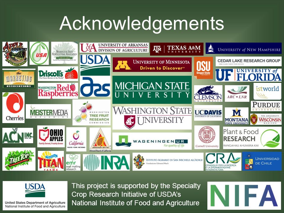 Acknowledgements This project is supported by the Specialty Crop Research Initiative of USDA's National Institute of Food and Agriculture