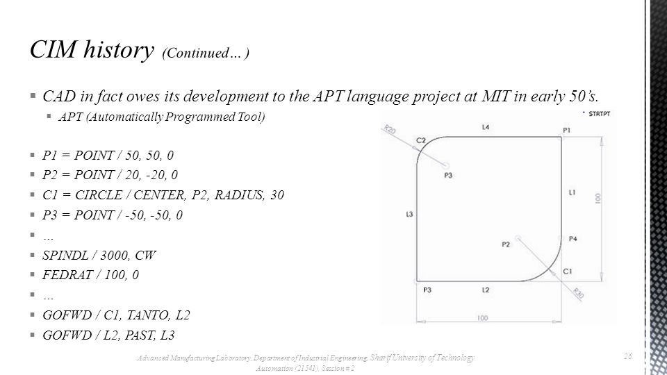  CAD in fact owes its development to the APT language project at MIT in early 50's.
