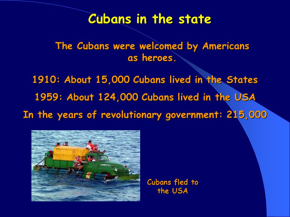 The reason The reason why the Cubans fled to the USA was Fidel Castro who became the dictator of Cuba.