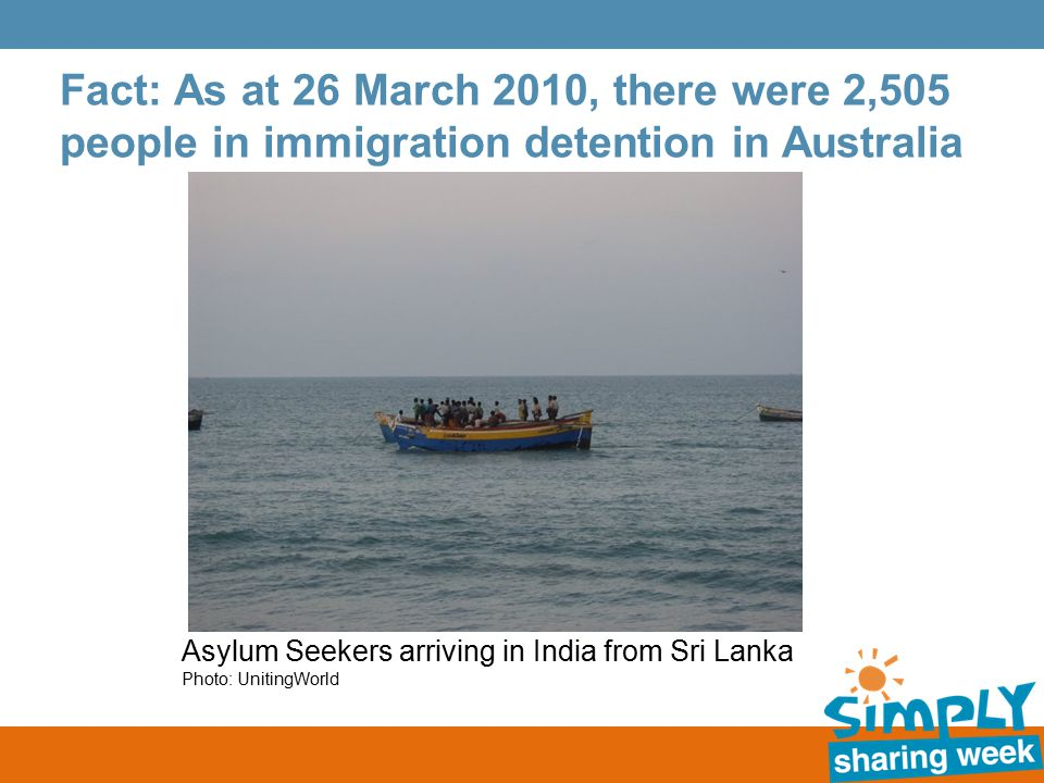 Fact: As at 26 March 2010, there were 2,505 people in immigration detention in Australia Asylum Seekers arriving in India from Sri Lanka Photo: UnitingWorld
