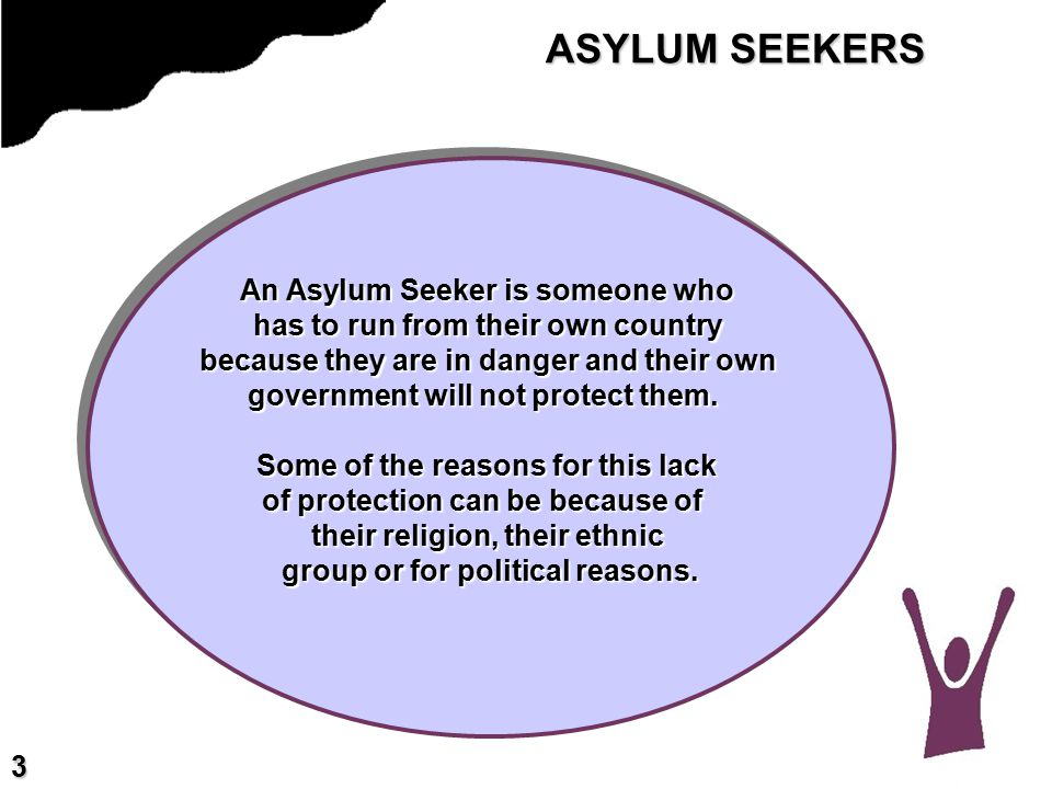 ASYLUM SEEKERS An Asylum Seeker is someone who has to run from their own country because they are in danger and their own government will not protect them.