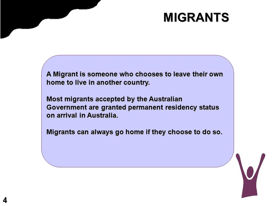 MIGRANTS A Migrant is someone who chooses to leave their own home to live in another country.
