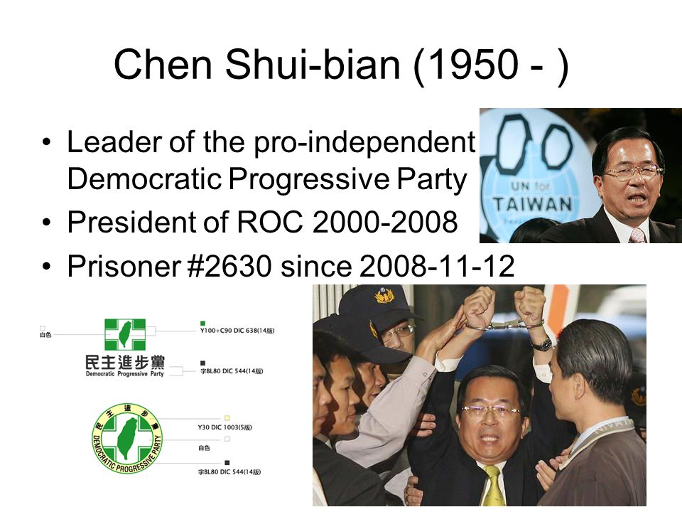 Chen Shui-bian (1950 - ) Leader of the pro-independent Democratic Progressive Party President of ROC 2000-2008 Prisoner #2630 since 2008-11-12