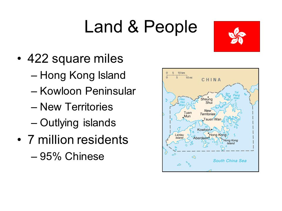 Land & People 422 square miles –Hong Kong Island –Kowloon Peninsular –New Territories –Outlying islands 7 million residents –95% Chinese