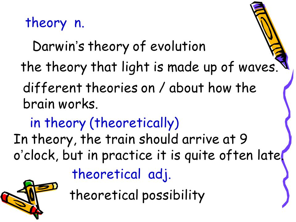 theory n. Darwin ' s theory of evolution the theory that light is made up of waves.