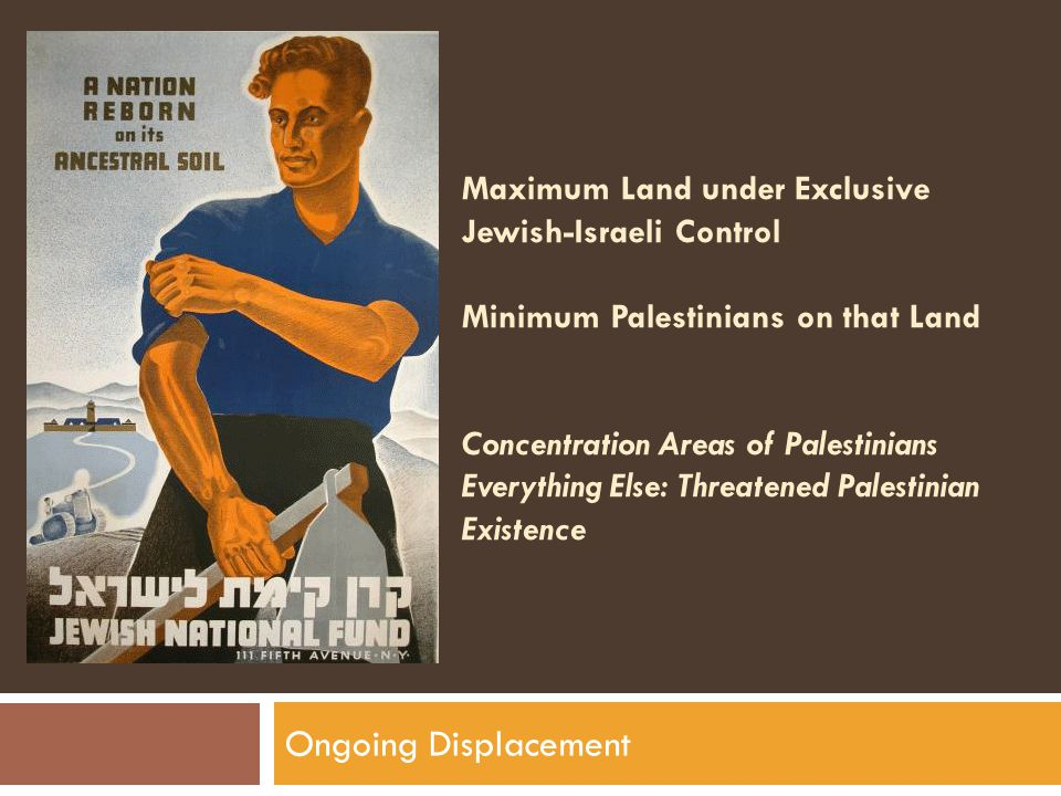 Maximum Land under Exclusive Jewish-Israeli Control Minimum Palestinians on that Land Concentration Areas of Palestinians Everything Else: Threatened Palestinian Existence Ongoing Displacement